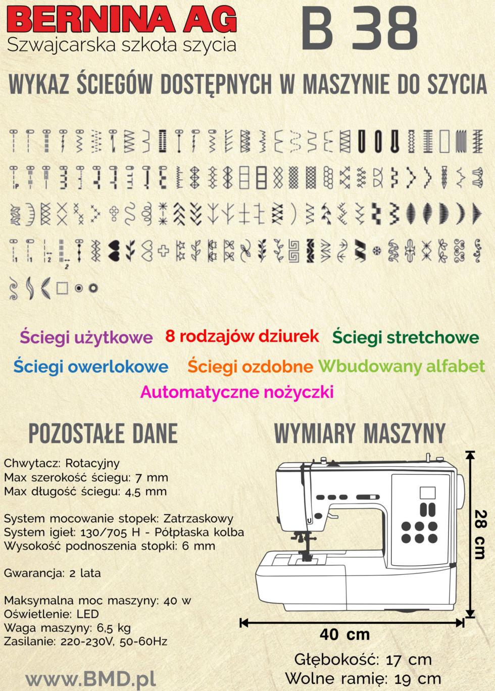 Maszyna do szycia BERNINA AG B 38 - Dodatkowe informacje