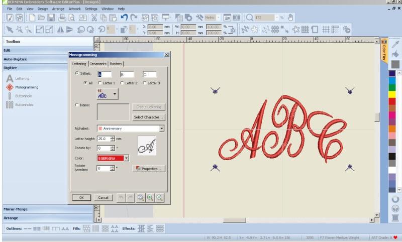 BERNINA-WILCOM Eduitor Plus 7 - Oprogramowanie hafiarskie - Tworzenie monogramów