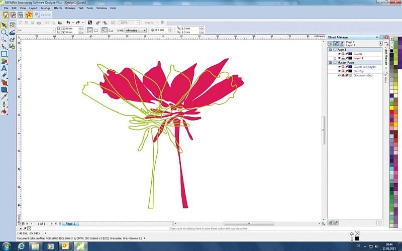 Oprogramowanie hafciarskie BERNINA-WILCOM Editor Plus 7 - Wbudowany CorelDRAW