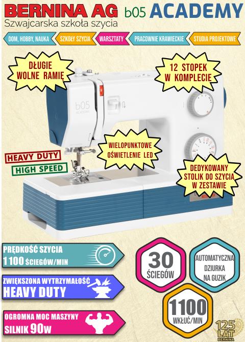 Maszyna do szycia BERNINA b05 ACADEMY - Dodatkowe informacje
