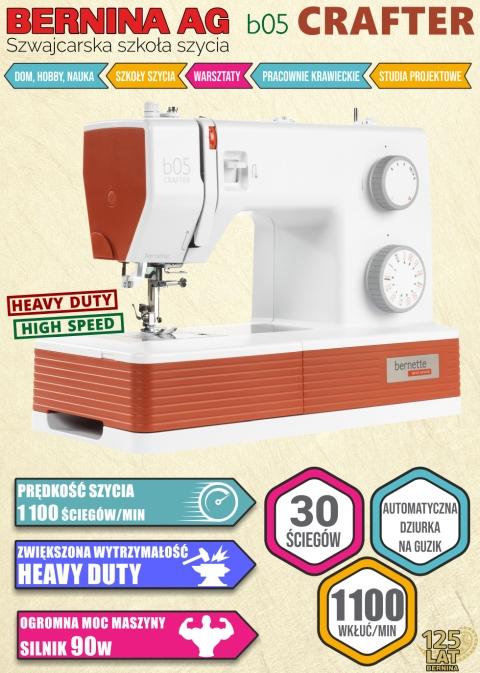 Maszyna do szycia BERNINA b05 CRAFTER - Dodatkowe informacje