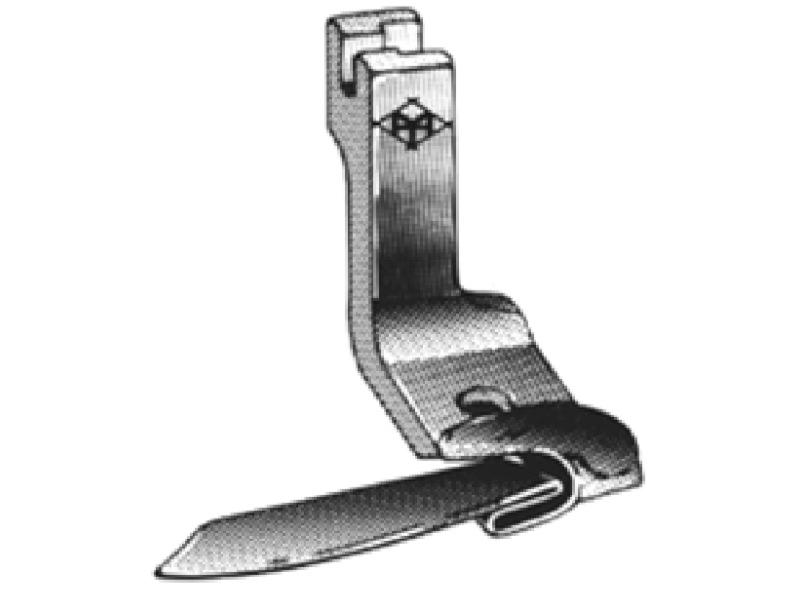 Stopka H5019 podwijająca do dołu (obrębiająca, zawijająca) do stębnówki jednoigłowej. Różne rozmiary