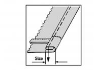 Stopka obrębiająca (podwijająca) do szwów poprzecznych H5018 do stębnówek jednoigłowych. Różne rozmiary
