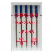 Igły ORGAN JEANS półpłaskie systemu 130/705H do maszyn, hafciarek, owerloków grubości: 90,100, MIX